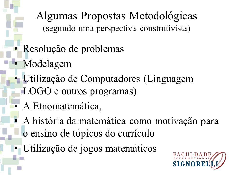 Algumas Propostas Metodológicas (segundo uma perspectiva construtivista) Resolução de problemas Modelagem Utilização de Computadores (Linguagem LOGO e
