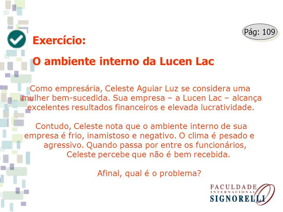 Exercício: O ambiente interno da Lucen Lac Como empresária, Celeste Aguiar Luz se considera uma mulher bem-sucedida. Sua empresa – a Lucen Lac – alcan