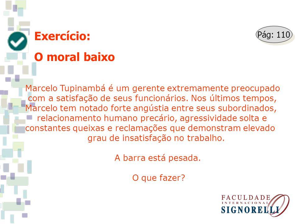 Exercício: O moral baixo Marcelo Tupinambá é um gerente extremamente preocupado com a satisfação de seus funcionários. Nos últimos tempos, Marcelo tem