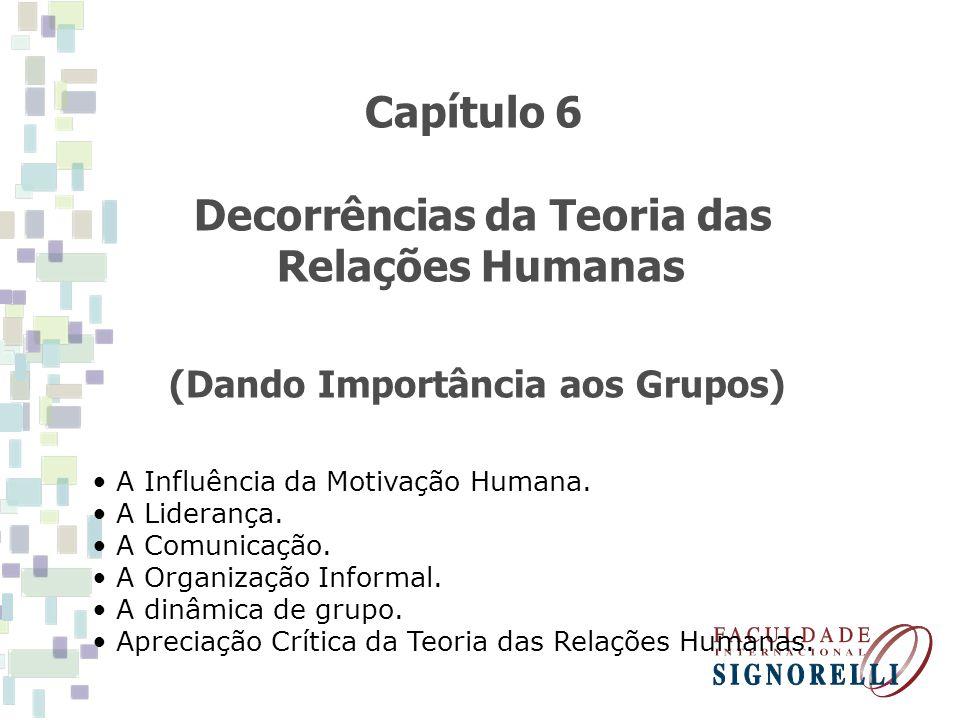 Capítulo 6 Decorrências da Teoria das Relações Humanas (Dando Importância aos Grupos) A Influência da Motivação Humana. A Liderança. A Comunicação. A