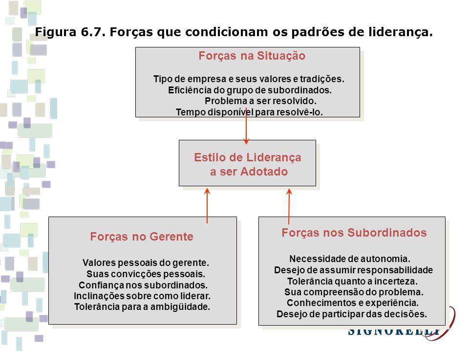 Figura 6.7. Forças que condicionam os padrões de liderança. Forças na Situação Tipo de empresa e seus valores e tradições. Eficiência do grupo de subo