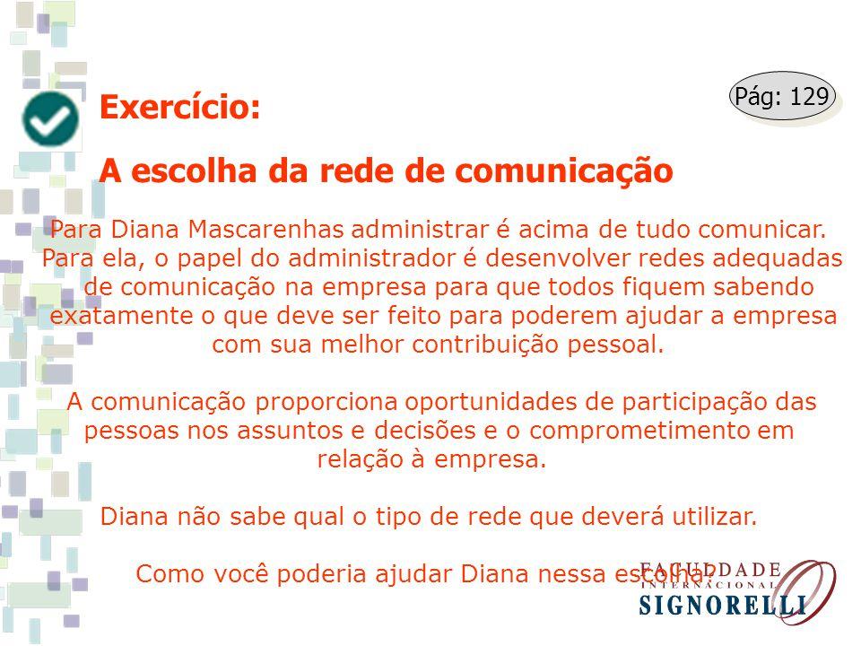 Exercício: A escolha da rede de comunicação Para Diana Mascarenhas administrar é acima de tudo comunicar. Para ela, o papel do administrador é desenvo