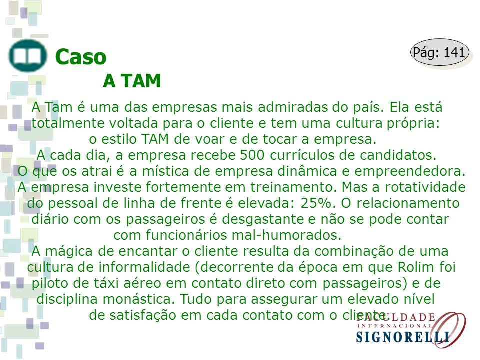 Caso A TAM A Tam é uma das empresas mais admiradas do país. Ela está totalmente voltada para o cliente e tem uma cultura própria: o estilo TAM de voar