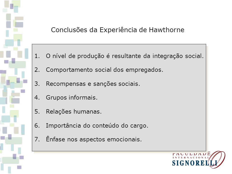 Conclusões da Experiência de Hawthorne 1.O nível de produção é resultante da integração social. 2.Comportamento social dos empregados. 3.Recompensas e