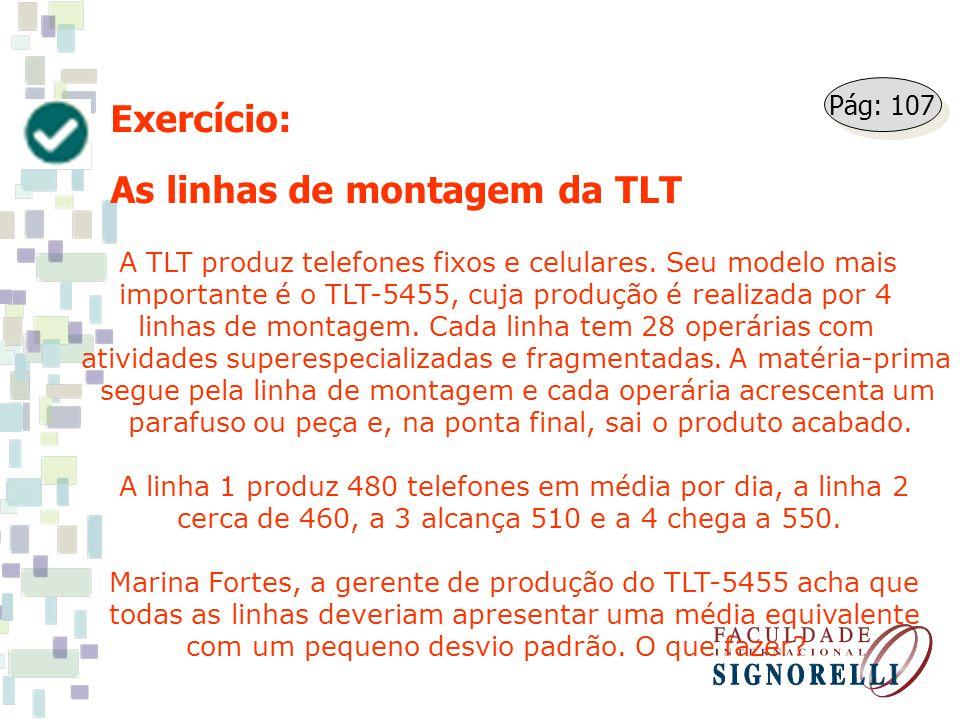 Exercício: As linhas de montagem da TLT A TLT produz telefones fixos e celulares. Seu modelo mais importante é o TLT-5455, cuja produção é realizada p