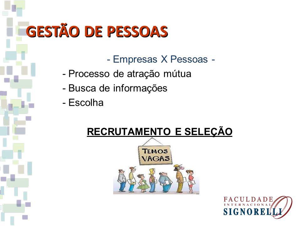 - Empresas X Pessoas - - Processo de atração mútua - Busca de informações - Escolha RECRUTAMENTO E SELEÇÃO GESTÃO DE PESSOAS