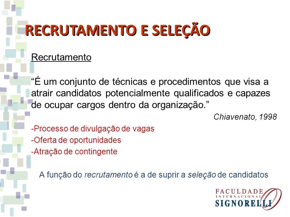 Recrutamento É um conjunto de técnicas e procedimentos que visa a atrair candidatos potencialmente qualificados e capazes de ocupar cargos dentro da organização.