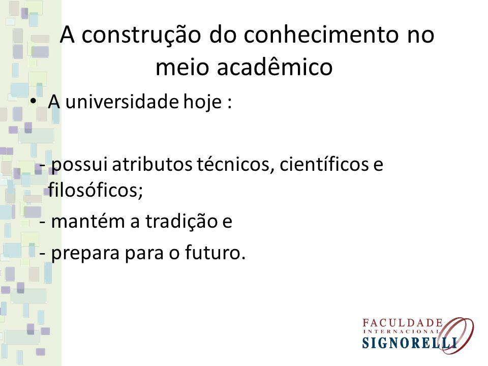 A universidade hoje : - possui atributos técnicos, científicos e filosóficos; - mantém a tradição e - prepara para o futuro.