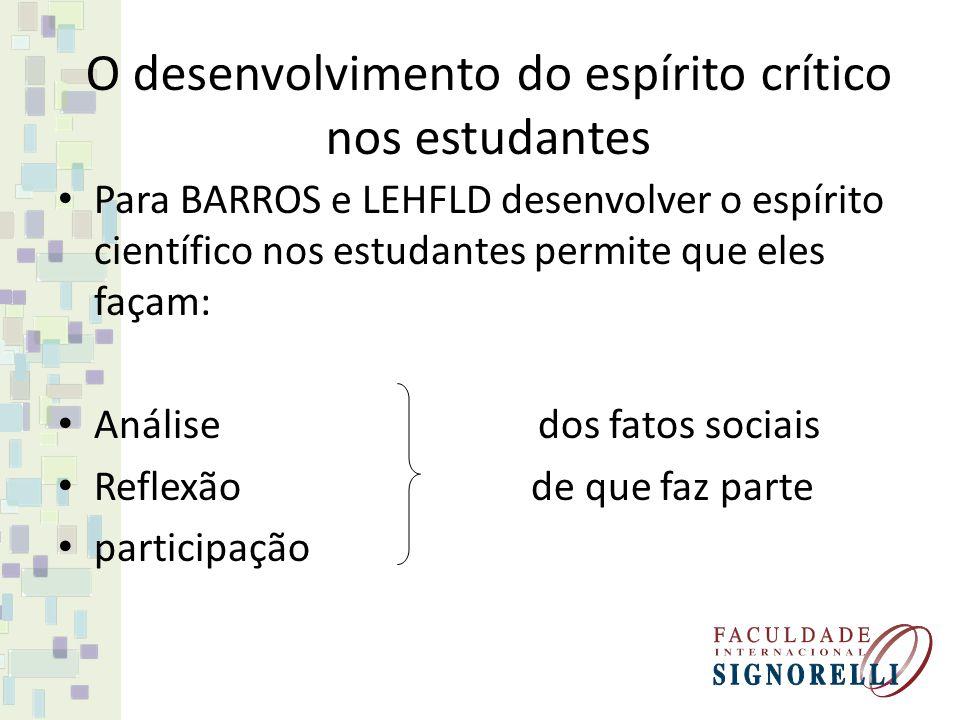 Para BARROS e LEHFLD desenvolver o espírito científico nos estudantes permite que eles façam: Análise dos fatos sociais Reflexão de que faz parte part