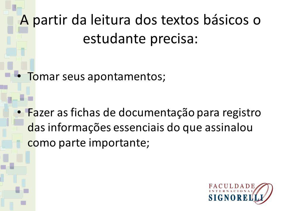 A partir da leitura dos textos básicos o estudante precisa: Tomar seus apontamentos; Fazer as fichas de documentação para registro das informações ess