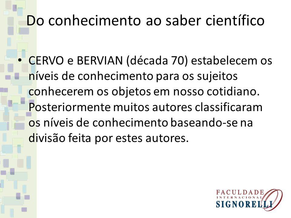 CERVO e BERVIAN (década 70) estabelecem os níveis de conhecimento para os sujeitos conhecerem os objetos em nosso cotidiano. Posteriormente muitos aut