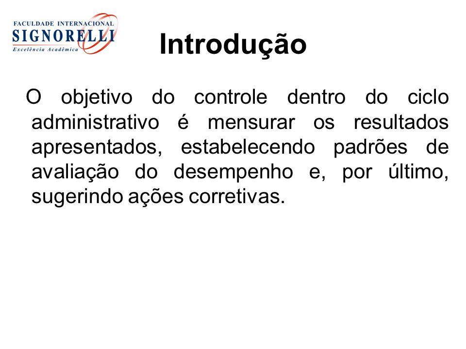 Introdução O objetivo do controle dentro do ciclo administrativo é mensurar os resultados apresentados, estabelecendo padrões de avaliação do desempen