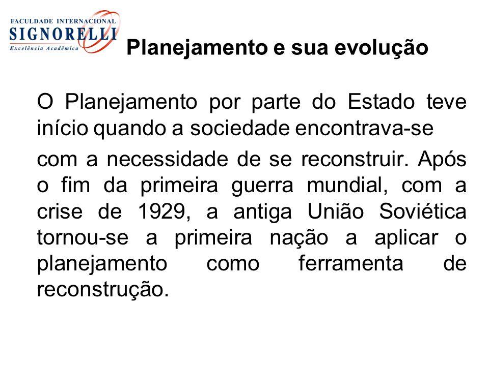 Planejamento e sua evolução O Planejamento por parte do Estado teve início quando a sociedade encontrava-se com a necessidade de se reconstruir. Após