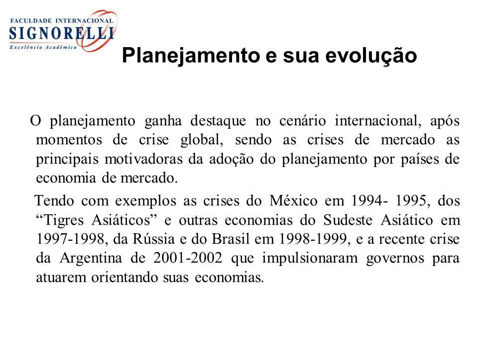 Planejamento e sua evolução O planejamento ganha destaque no cenário internacional, após momentos de crise global, sendo as crises de mercado as princ