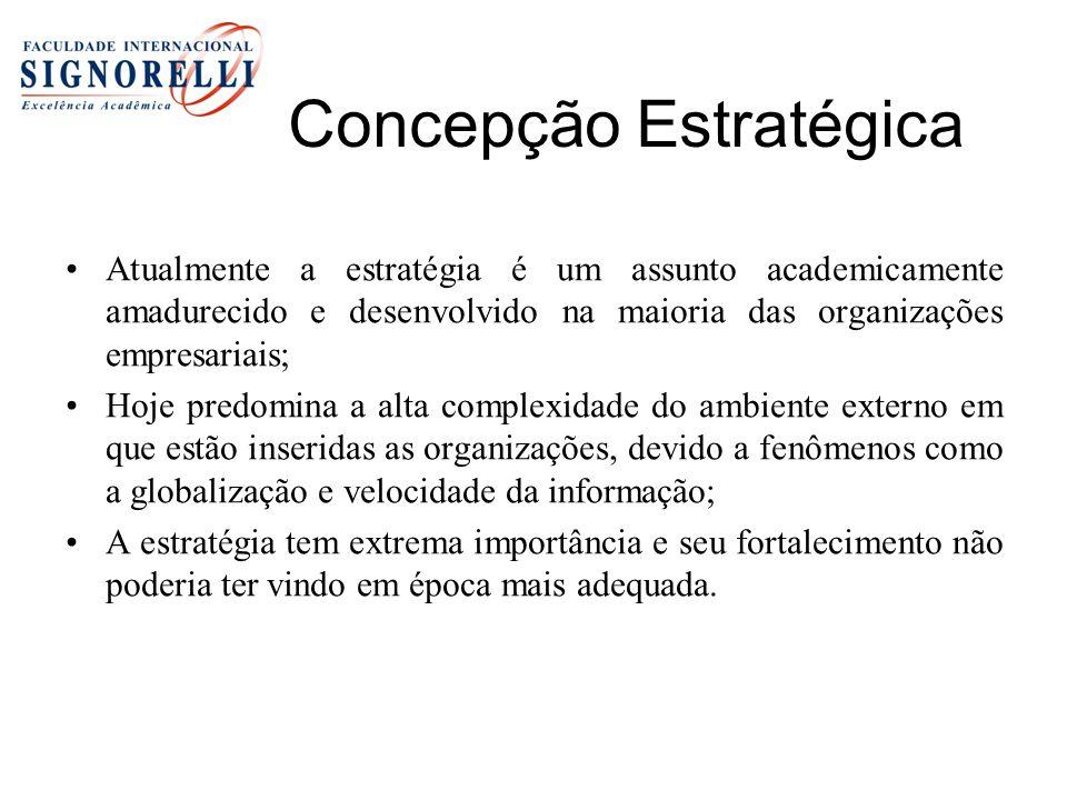 Concepção Estratégica Atualmente a estratégia é um assunto academicamente amadurecido e desenvolvido na maioria das organizações empresariais; Hoje pr