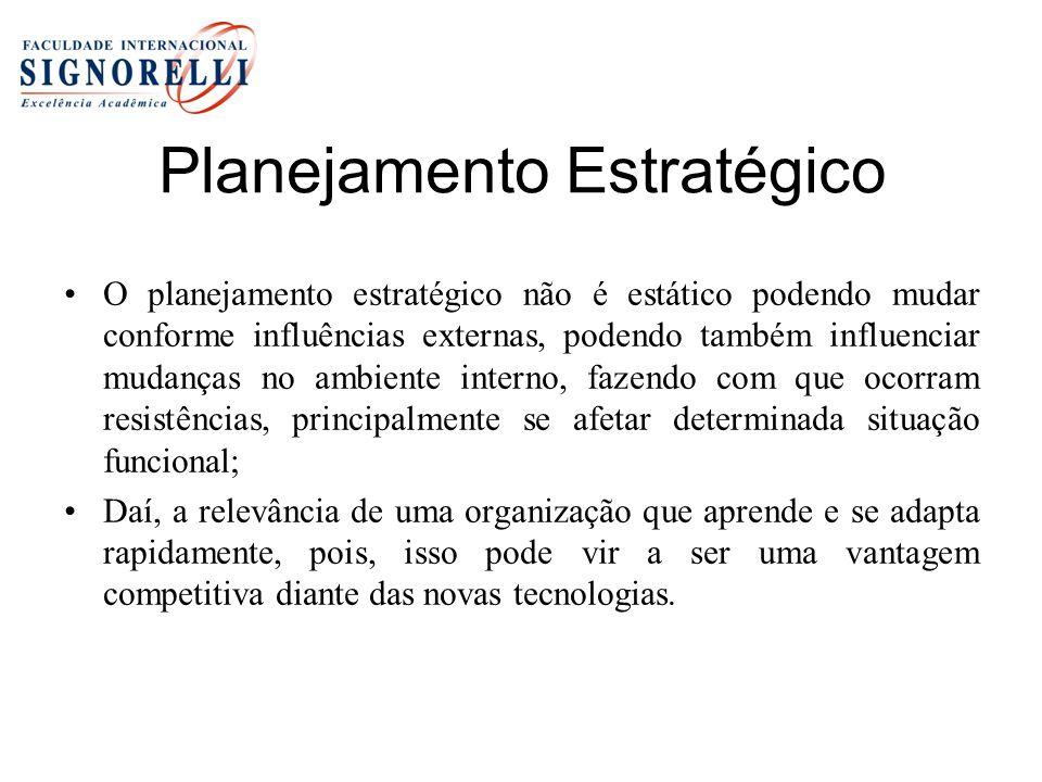 Planejamento Estratégico O planejamento estratégico não é estático podendo mudar conforme influências externas, podendo também influenciar mudanças no