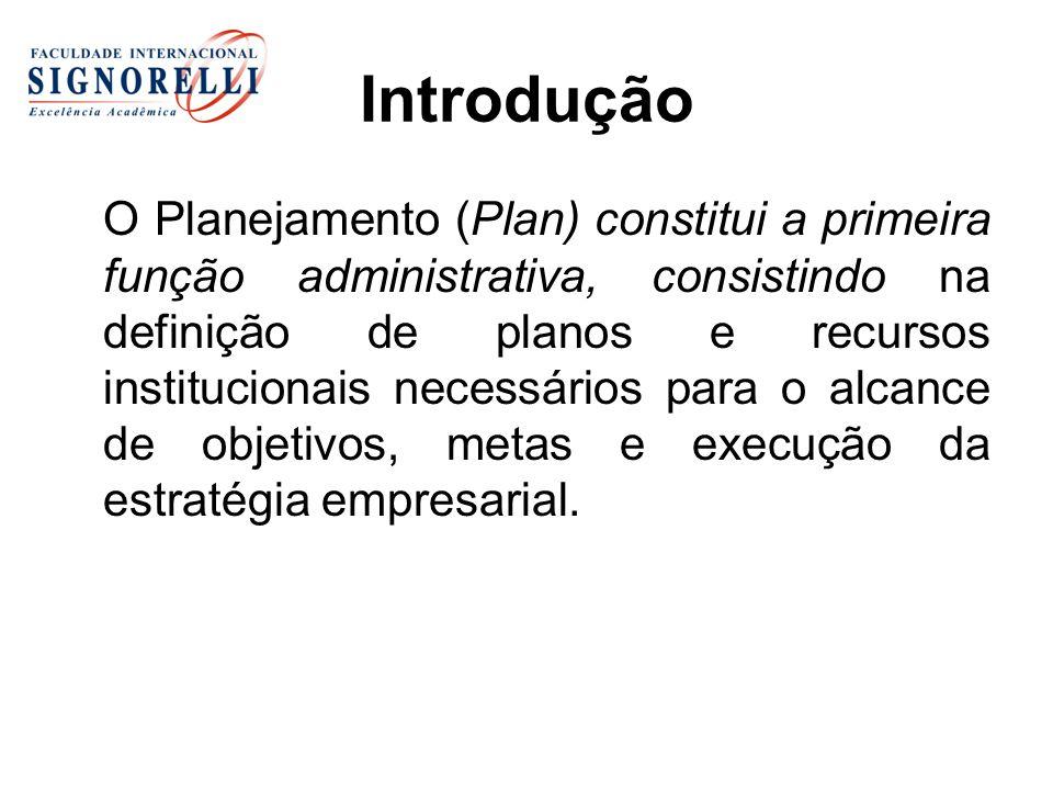 Introdução O Planejamento (Plan) constitui a primeira função administrativa, consistindo na definição de planos e recursos institucionais necessários