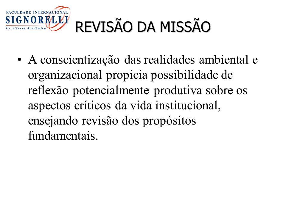 REVISÃO DA MISSÃO A conscientização das realidades ambiental e organizacional propicia possibilidade de reflexão potencialmente produtiva sobre os asp