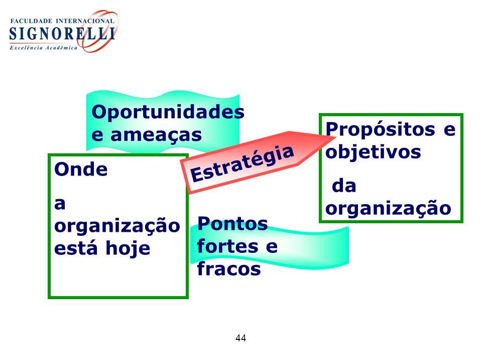 44 Pontos fortes e fracos Oportunidades e ameaças Onde a organização está hoje Propósitos e objetivos da organização Estratégia