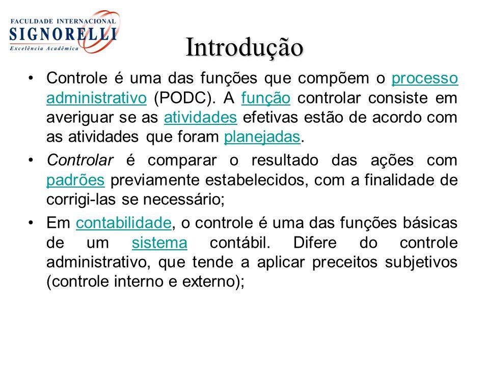 Introdução Controle é uma das funções que compõem o processo administrativo (PODC). A função controlar consiste em averiguar se as atividades efetivas