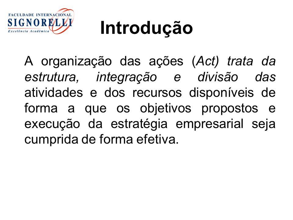 Introdução A organização das ações (Act) trata da estrutura, integração e divisão das atividades e dos recursos disponíveis de forma a que os objetivo