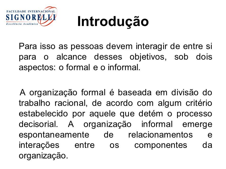 Introdução Para isso as pessoas devem interagir de entre si para o alcance desses objetivos, sob dois aspectos: o formal e o informal. A organização f