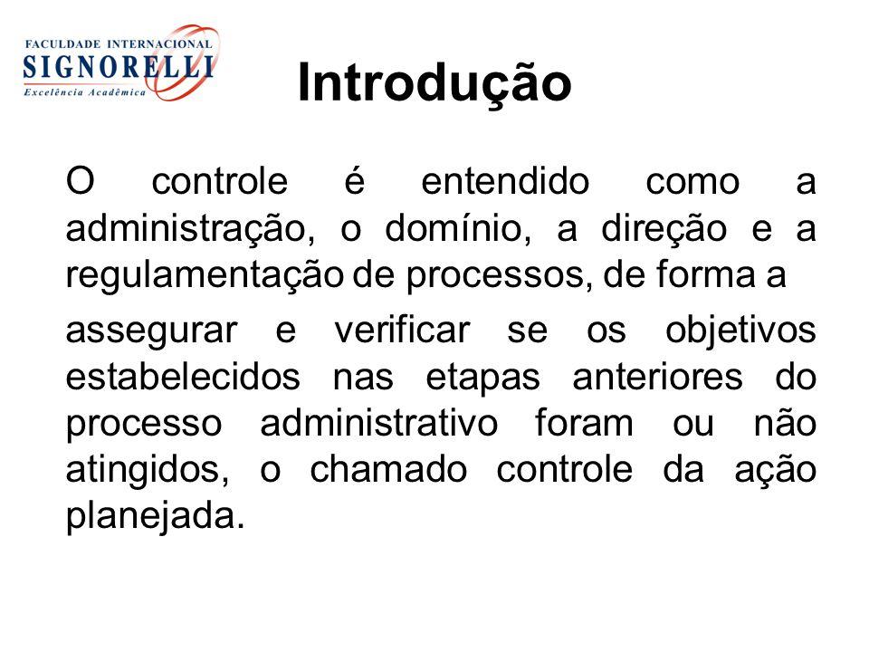 Introdução O controle é entendido como a administração, o domínio, a direção e a regulamentação de processos, de forma a assegurar e verificar se os o