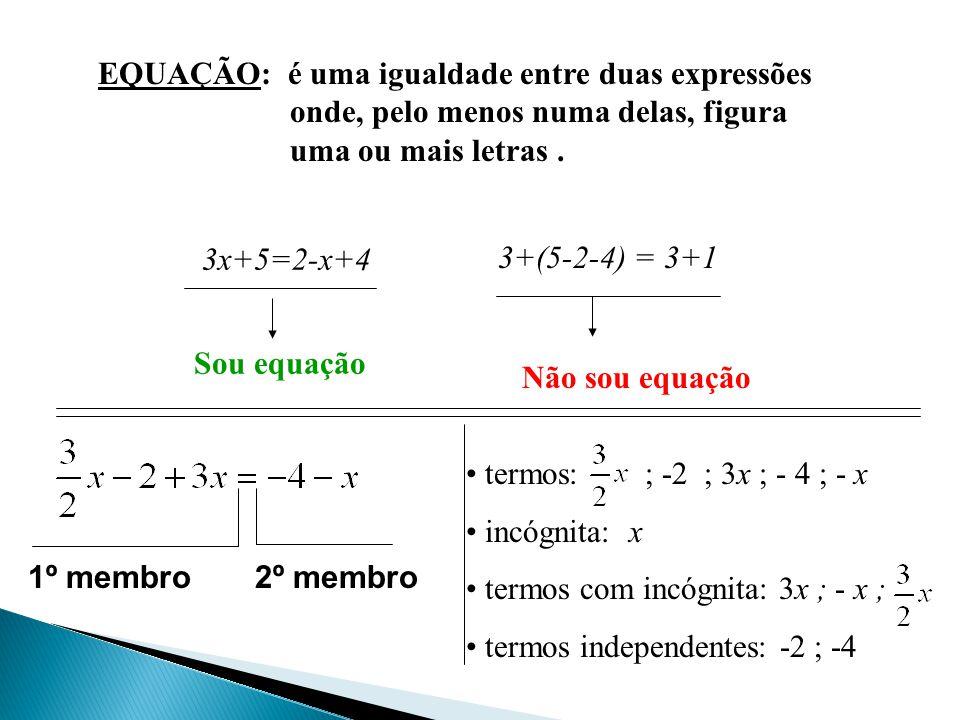 EQUAÇÃO: é uma igualdade entre duas expressões onde, pelo menos numa delas, figura uma ou mais letras.