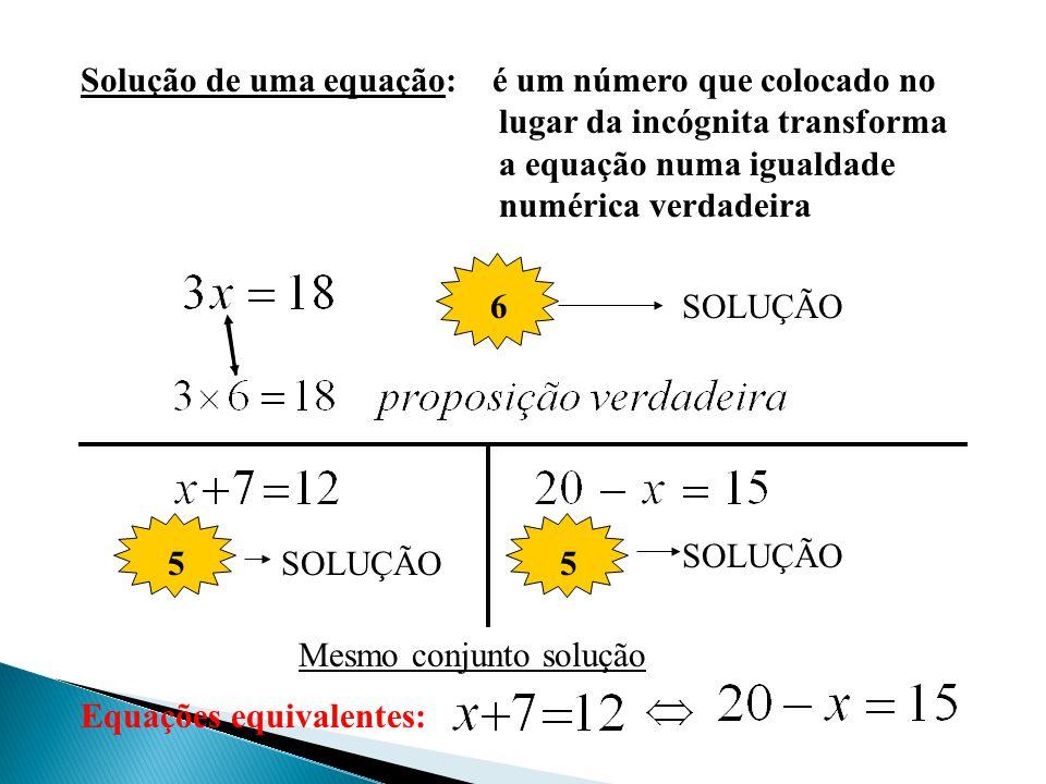 Solução de uma equação: é um número que colocado no lugar da incógnita transforma a equação numa igualdade numérica verdadeira 6SOLUÇÃO 5 5 Equações equivalentes: Mesmo conjunto solução