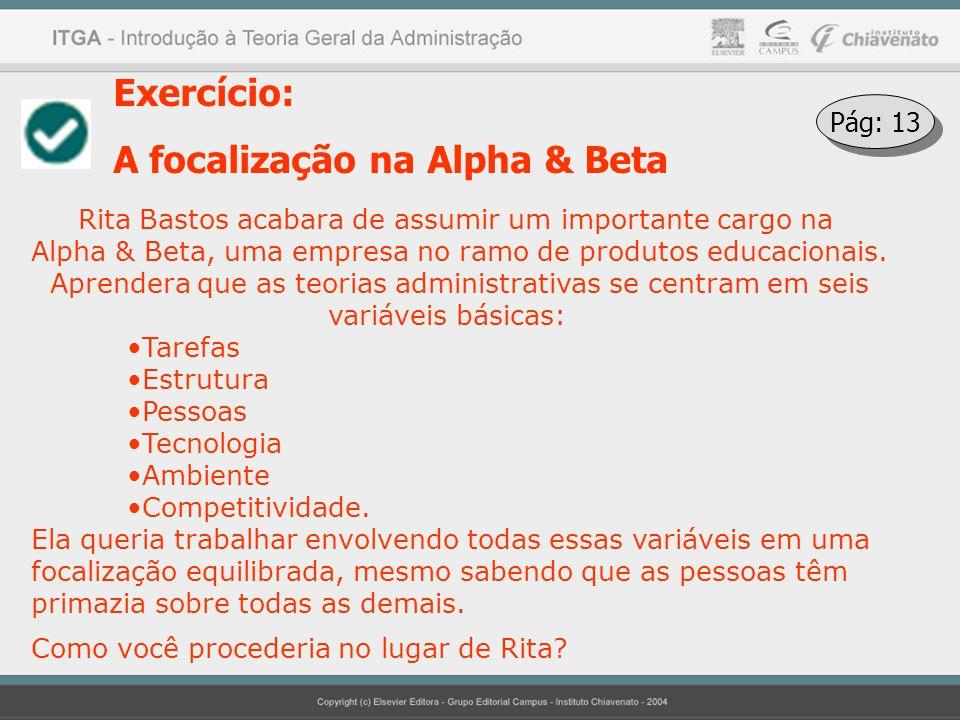 Exercício: A focalização na Alpha & Beta Rita Bastos acabara de assumir um importante cargo na Alpha & Beta, uma empresa no ramo de produtos educacion