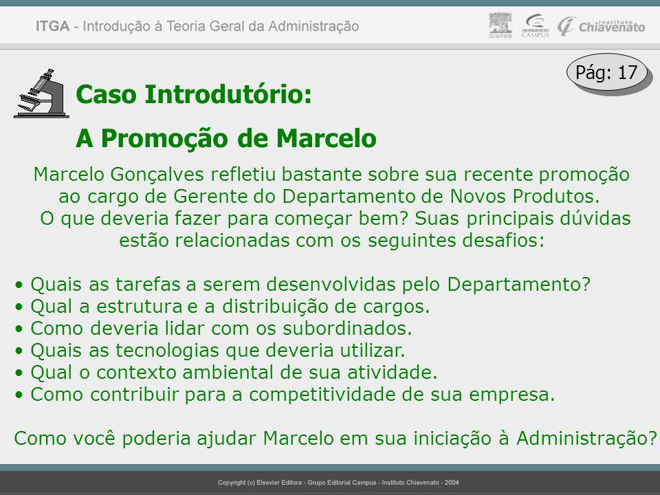Caso Introdutório: A Promoção de Marcelo Marcelo Gonçalves refletiu bastante sobre sua recente promoção ao cargo de Gerente do Departamento de Novos P