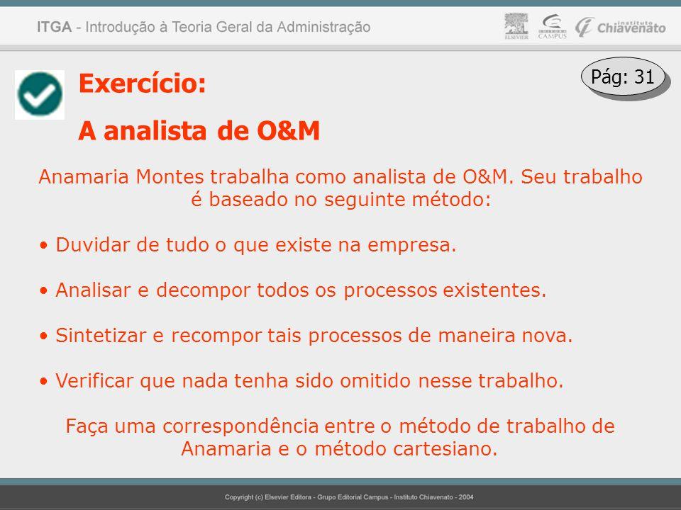 Exercício: A analista de O&M Anamaria Montes trabalha como analista de O&M. Seu trabalho é baseado no seguinte método: Duvidar de tudo o que existe na