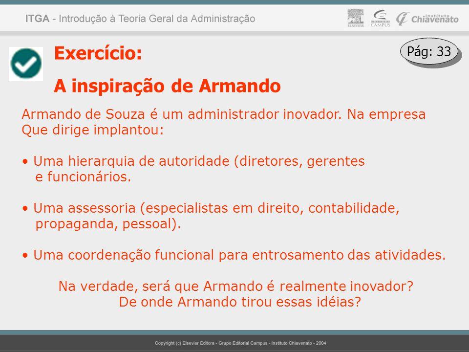 Exercício: A inspiração de Armando Armando de Souza é um administrador inovador. Na empresa Que dirige implantou: Uma hierarquia de autoridade (direto