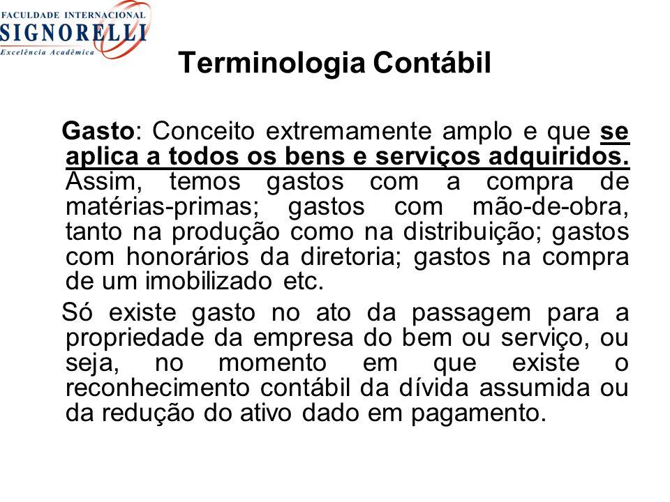 Terminologia Contábil Gasto: Conceito extremamente amplo e que se aplica a todos os bens e serviços adquiridos. Assim, temos gastos com a compra de ma