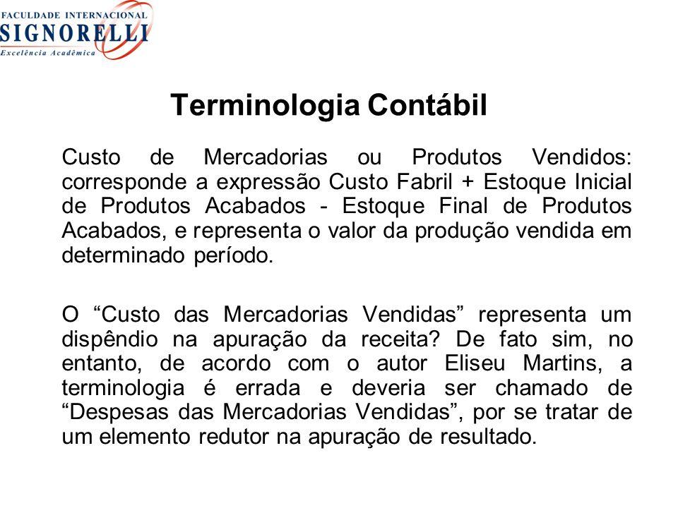 Terminologia Contábil Custo de Mercadorias ou Produtos Vendidos: corresponde a expressão Custo Fabril + Estoque Inicial de Produtos Acabados - Estoque