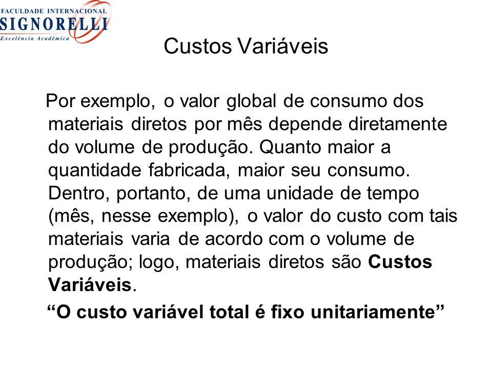 Custos Variáveis Por exemplo, o valor global de consumo dos materiais diretos por mês depende diretamente do volume de produção. Quanto maior a quanti