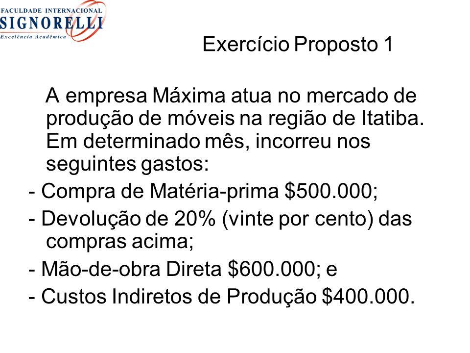 Exercício Proposto 1 A empresa Máxima atua no mercado de produção de móveis na região de Itatiba. Em determinado mês, incorreu nos seguintes gastos: -
