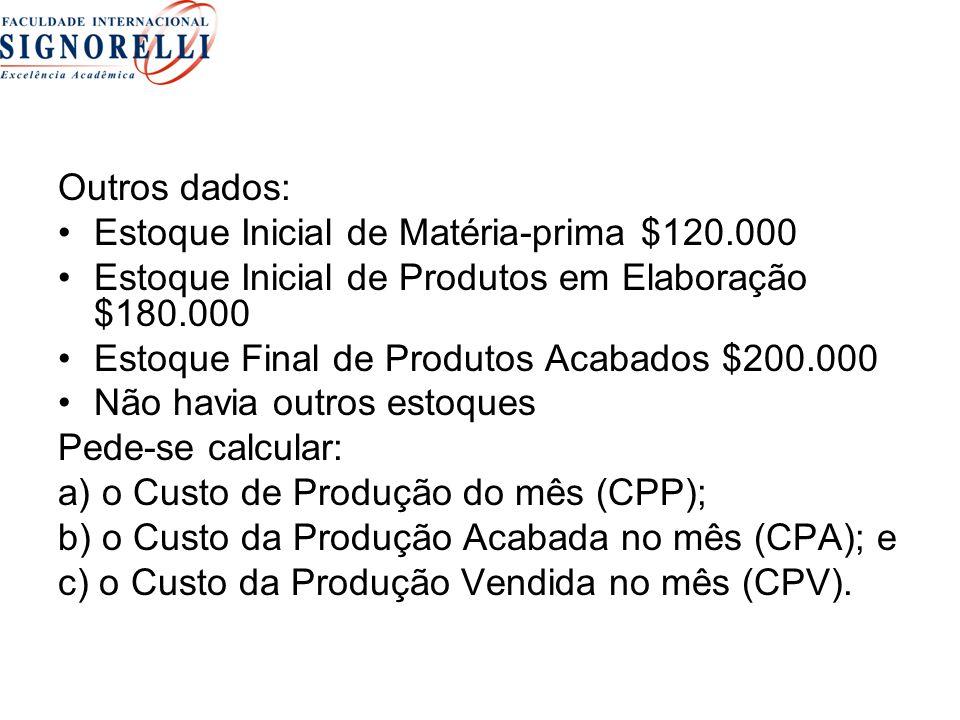 Outros dados: Estoque Inicial de Matéria-prima $120.000 Estoque Inicial de Produtos em Elaboração $180.000 Estoque Final de Produtos Acabados $200.000