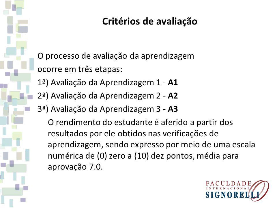 Critérios de avaliação O processo de avaliação da aprendizagem ocorre em três etapas: 1ª) Avaliação da Aprendizagem 1 - A1 2ª) Avaliação da Aprendizagem 2 - A2 3ª) Avaliação da Aprendizagem 3 - A3 O rendimento do estudante é aferido a partir dos resultados por ele obtidos nas verificações de aprendizagem, sendo expresso por meio de uma escala numérica de (0) zero a (10) dez pontos, média para aprovação 7.0.