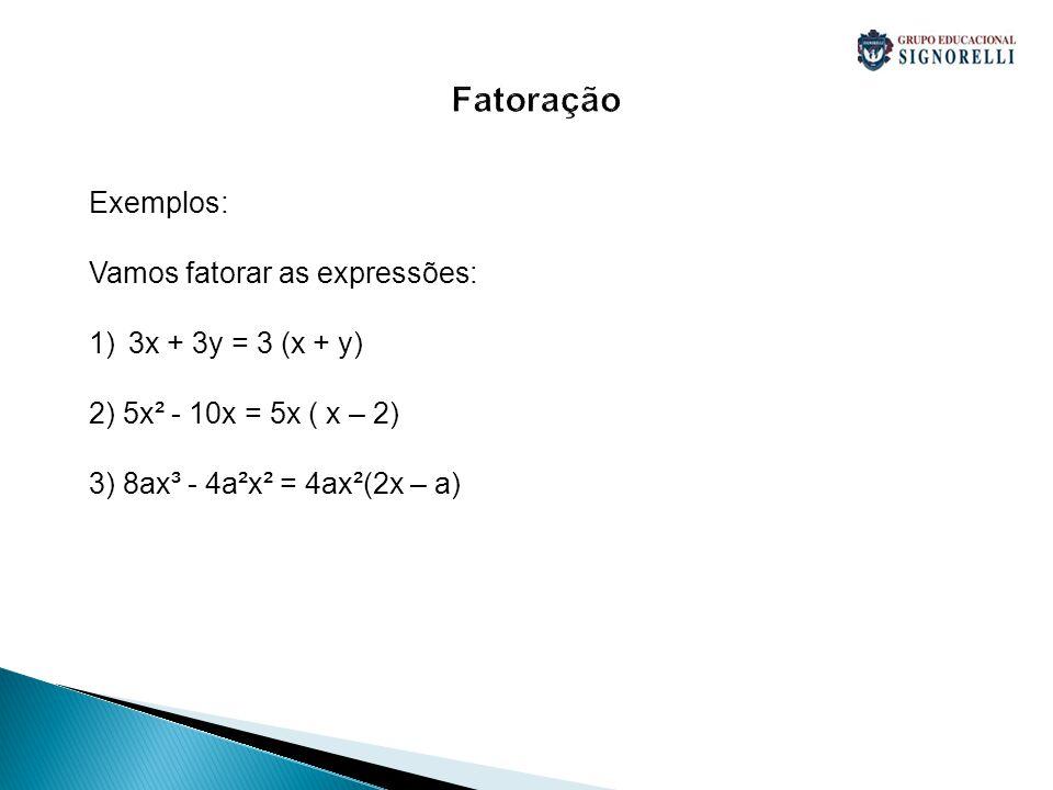 Fatoração Exemplos: Vamos fatorar as expressões: 1)3x + 3y = 3 (x + y) 2) 5x² - 10x = 5x ( x – 2) 3) 8ax³ - 4a²x² = 4ax²(2x – a)