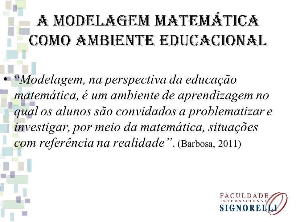 A Modelagem Matemática como Ambiente Educacional Modelagem, na perspectiva da educação matemática, é um ambiente de aprendizagem no qual os alunos são convidados a problematizar e investigar, por meio da matemática, situações com referência na realidade.