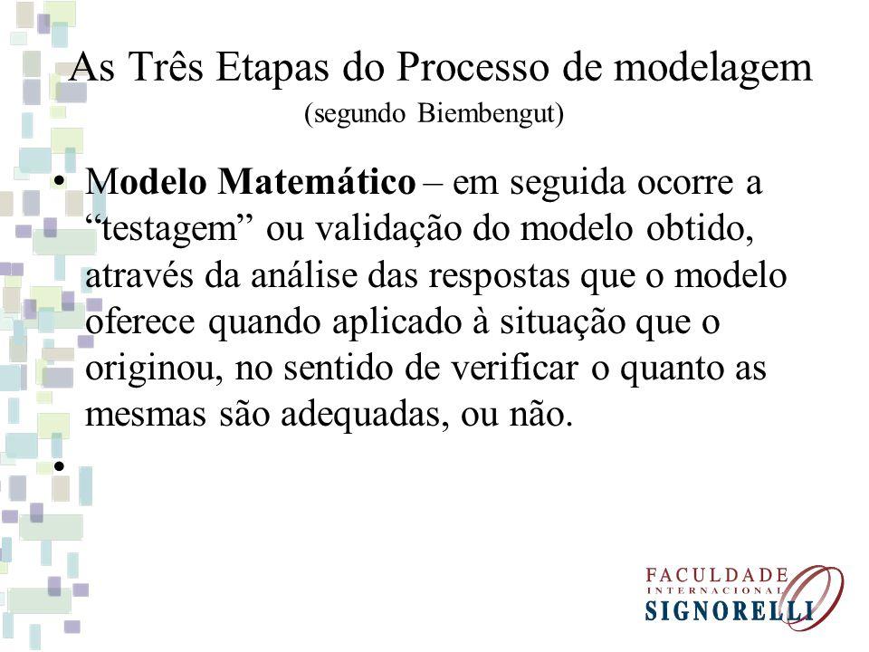 As Três Etapas do Processo de modelagem (segundo Biembengut) Modelo Matemático – em seguida ocorre a testagem ou validação do modelo obtido, através da análise das respostas que o modelo oferece quando aplicado à situação que o originou, no sentido de verificar o quanto as mesmas são adequadas, ou não.