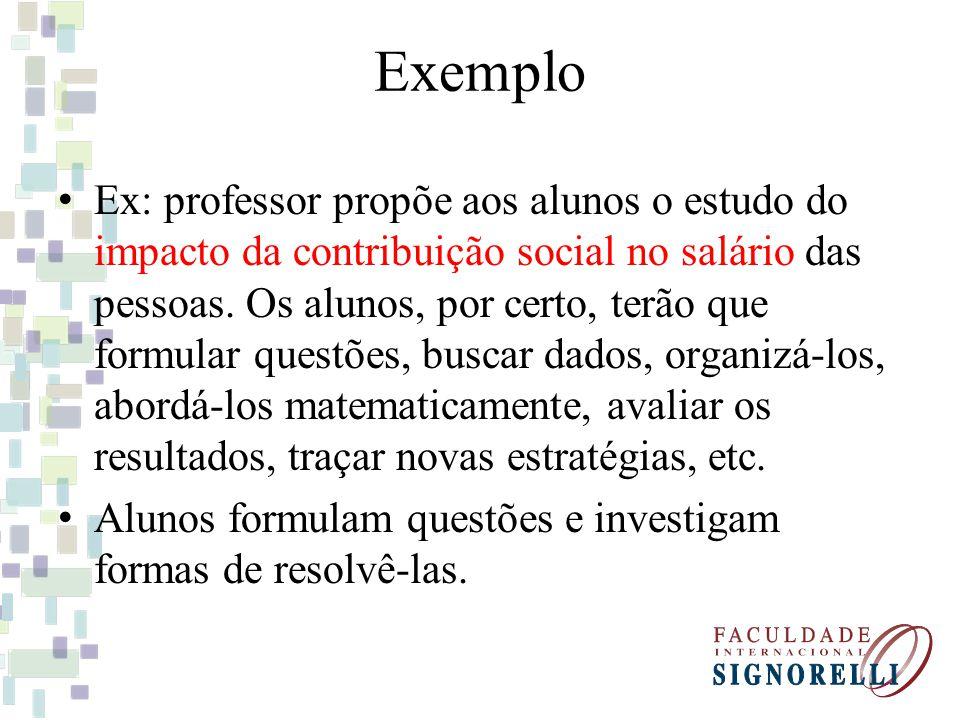 Exemplo Ex: professor propõe aos alunos o estudo do impacto da contribuição social no salário das pessoas.