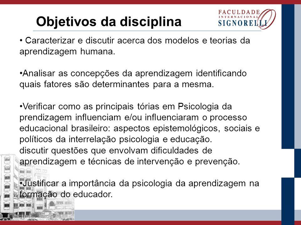 Programa da Disciplina 1.Concepções de aprendizagem, tipos e fatores determinantes.