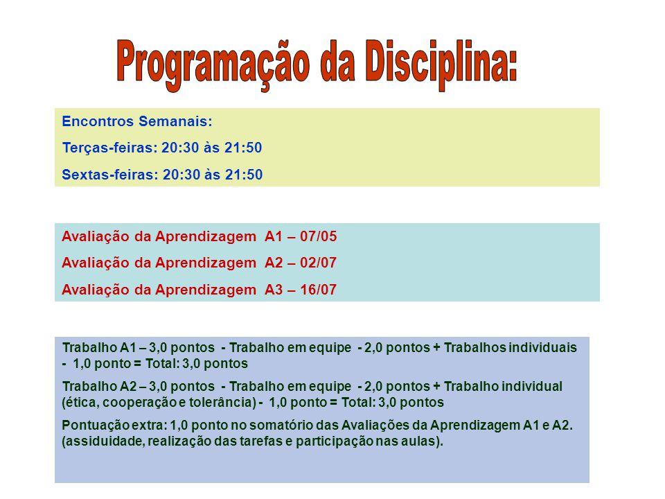 Encontros Semanais: Terças-feiras: 20:30 às 21:50 Sextas-feiras: 20:30 às 21:50 Avaliação da Aprendizagem A1 – 07/05 Avaliação da Aprendizagem A2 – 02