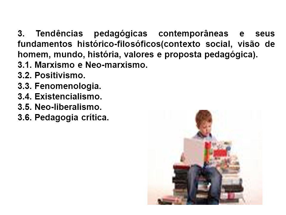 3. Tendências pedagógicas contemporâneas e seus fundamentos histórico-filosóficos(contexto social, visão de homem, mundo, história, valores e proposta