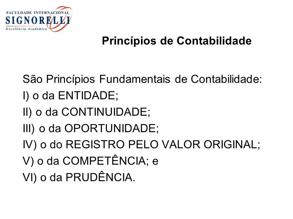 Princípios de Contabilidade São Princípios Fundamentais de Contabilidade: I) o da ENTIDADE; II) o da CONTINUIDADE; III) o da OPORTUNIDADE; IV) o do RE