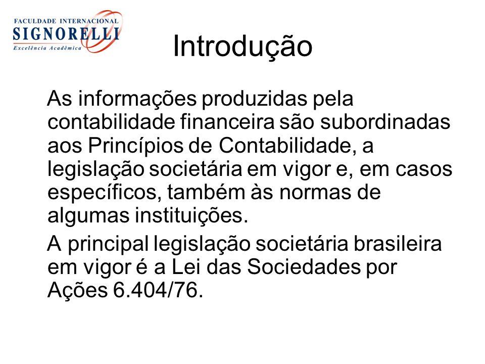 Introdução As informações produzidas pela contabilidade financeira são subordinadas aos Princípios de Contabilidade, a legislação societária em vigor