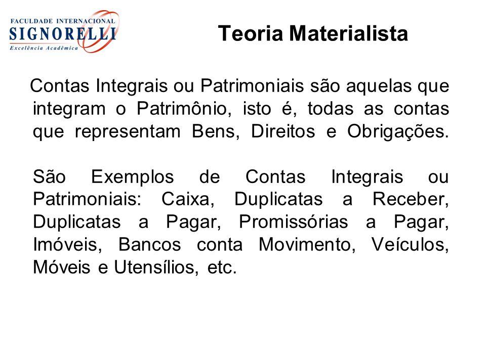 Contas Integrais ou Patrimoniais são aquelas que integram o Patrimônio, isto é, todas as contas que representam Bens, Direitos e Obrigações.