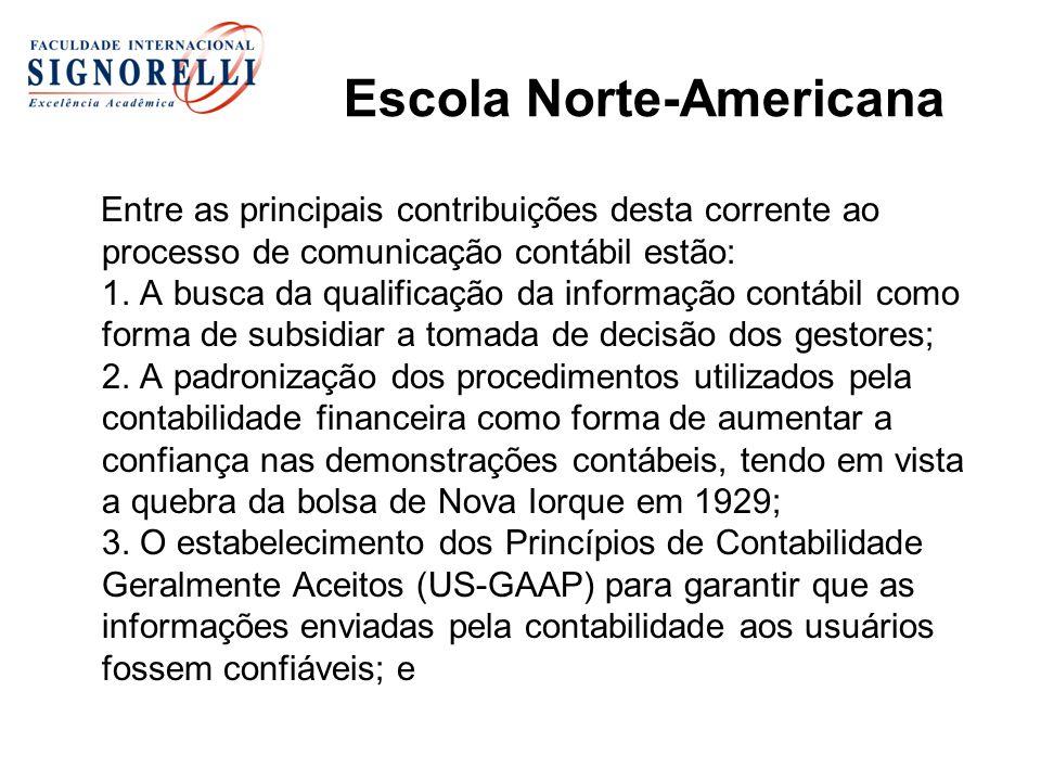 Escola Norte-Americana Entre as principais contribuições desta corrente ao processo de comunicação contábil estão: 1.